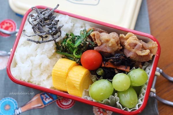 豚唐揚げの女子高生弁当|500mlミコノスランチボックス使用