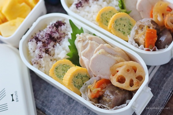 鶏ハム・すじこんのお弁当|簡単レシピあり