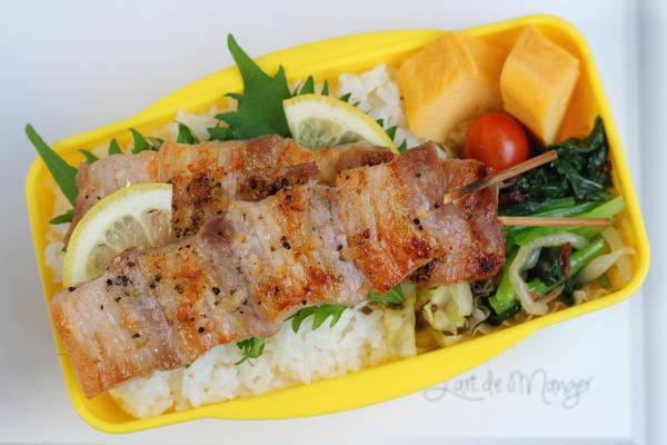 豚バラ串のっけ弁/作りおきOKな緑のおかず【小松菜ナムル】