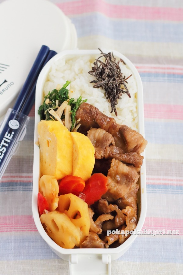 焼肉弁当と簡単な副菜弁当おかずレシピ