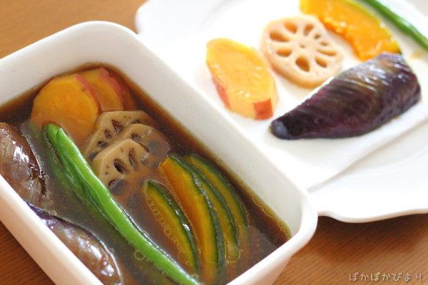 弁当おかずの汁もれを防ぐ方法(野菜の揚げ浸し)