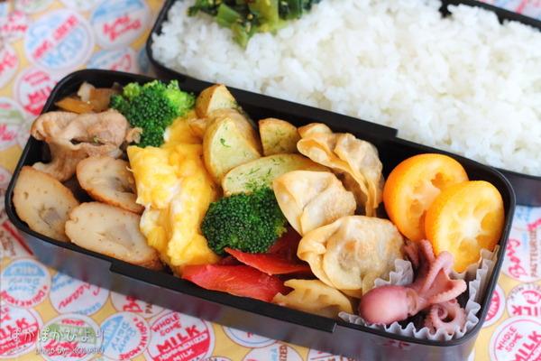 野沢菜弁当、おかずは生姜焼き+揚げ餃子|寝る前の準備写真付き