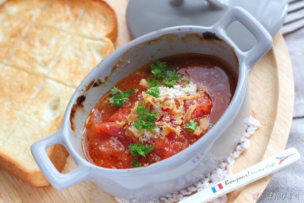 焼トマトの絶品ソース/焼いてフォークでつぶしただけなのに!かなりおすすめ。