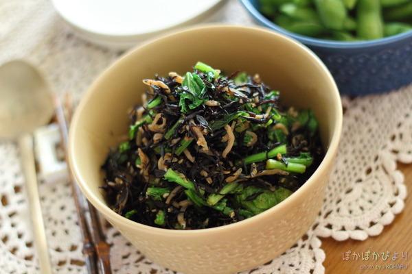 薄めであっさりな常備菜【芽ひじき&かぶ葉の炒め煮】