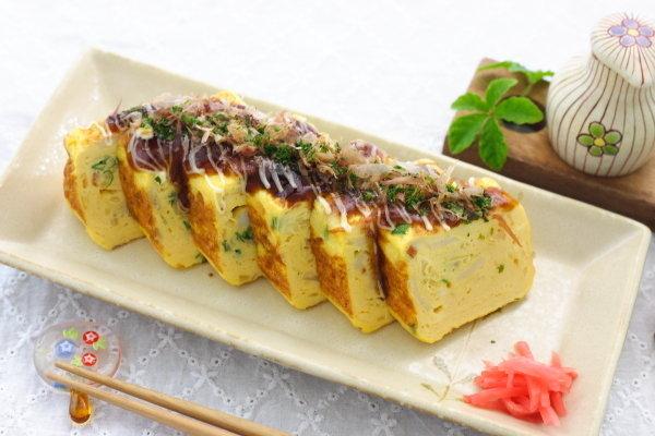 【お好み焼風卵焼き】レシピ~ 卵焼き器で作るバージョンと、フライパンで大きく作るバージョン