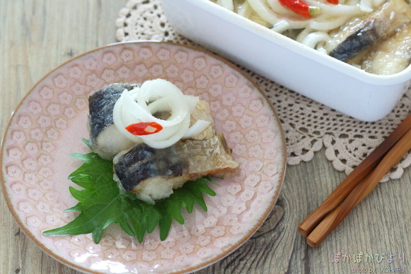 塩サバで作る簡単南蛮漬け/カネ定製陶さんとの縁の話