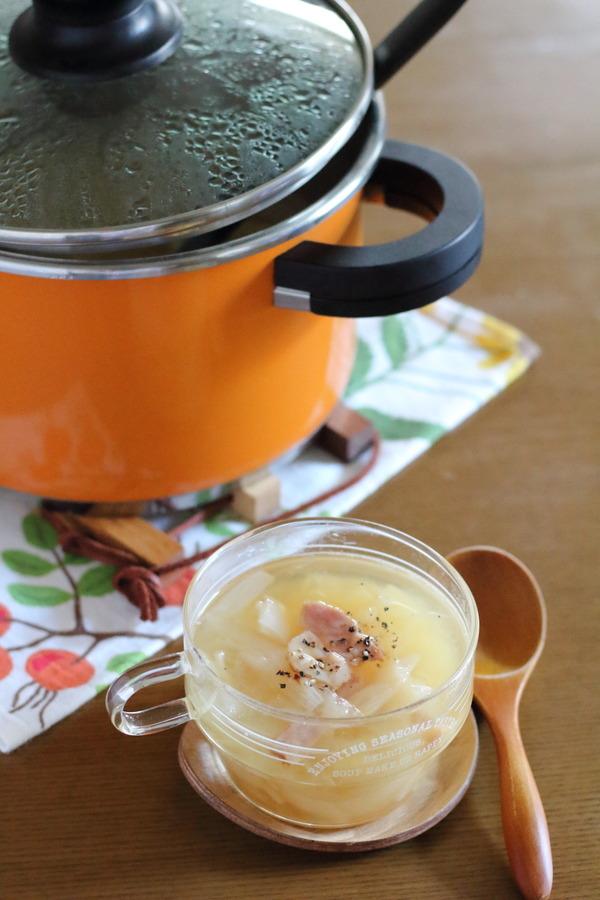 玉ねぎたっぷりスープ|圧力鍋にガラス蓋を合わせて日常使いしている話