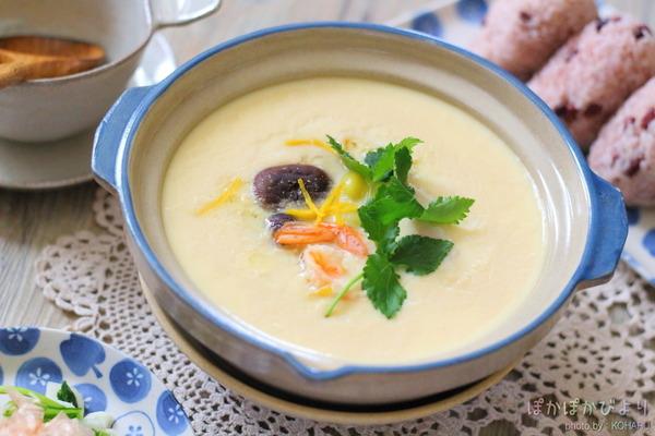 【レシピ】土鍋で作る茶碗蒸し|具見せの二段蒸しと茶碗蒸しの時の献立