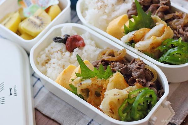 牛肉と玉ねぎの甘辛炒め弁当|おかず2品簡単レシピ付き