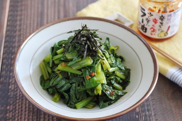 葉物野菜についている虫の話|小松菜のらー油ポン酢和え