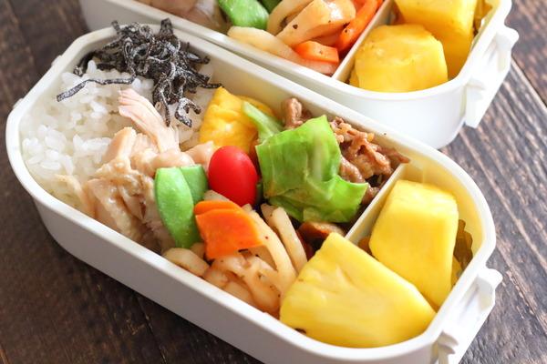 レンコンとにんじんの甘酢煮・レンジ蒸し鶏の弁当記録(レシピ付き)