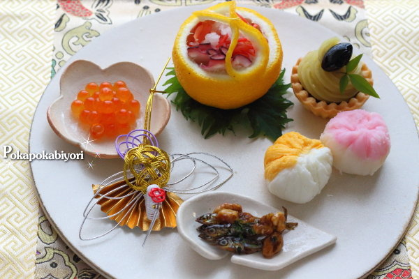 華やかなお節に~~錦卵と、ゆりね茶巾のレシピ