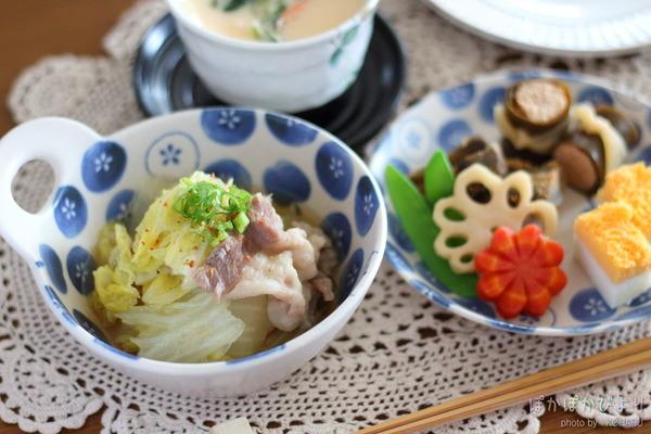 豚肉と白菜のさっと煮:お節料理を取り入れた晩御飯メニュー