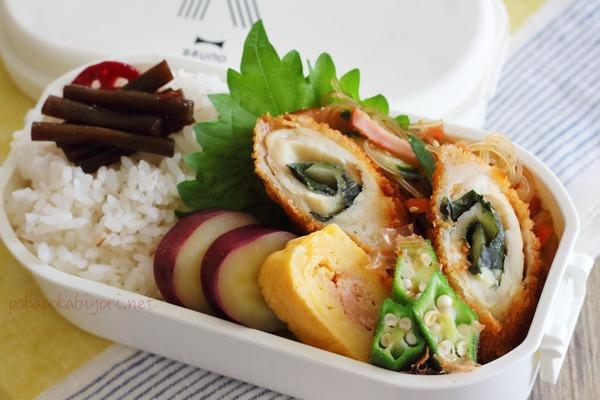 フライの弁当|隙間埋めに春雨サラダ&そのレシピ