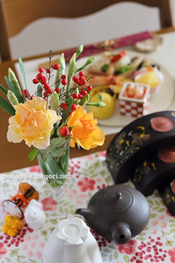 お正月の花のスタイリング