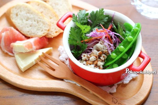 お腹もすっきり!春菊と雑穀のサラダ ~雑穀の茹で汁を活用した栄養満点のお粥