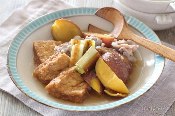 豚肉+野菜等の【しょうゆ煮】|フライパンで簡単なメインのおかず~厚揚げ・さつまいも等と