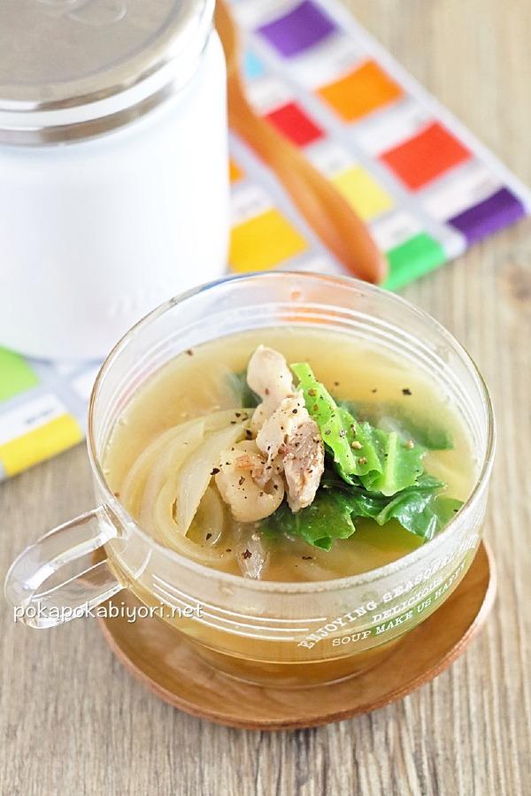 塩鶏とキャベツの即席スープ