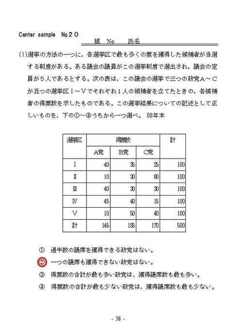 センターサンプルNo20表