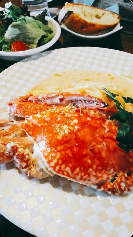 渡り蟹のクリームパスタ