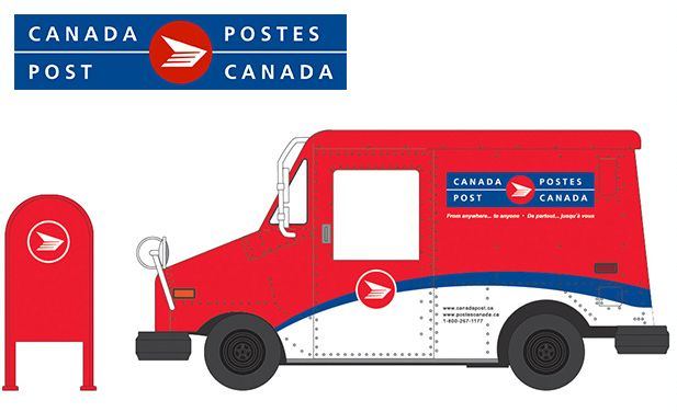 Set of 2 GREENLIGHT USPS /& Canada Post LLV with Mailbox 1:64