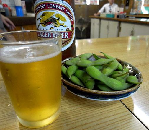 上田酒店 瓶ビール&枝豆