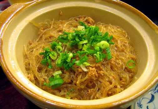 上海料理 金国 春雨と豚ミンチの炒め物