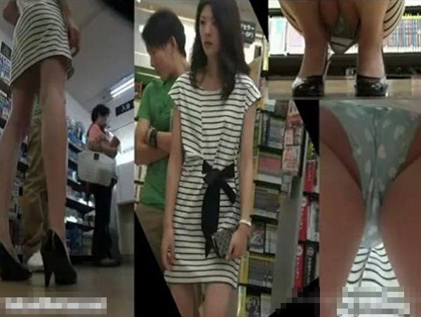 【隠撮動画】彼氏同伴のスレンダー美女のパンティ!レンタルDVD店で収録した正面&逆さ撮りパンチラ映像www
