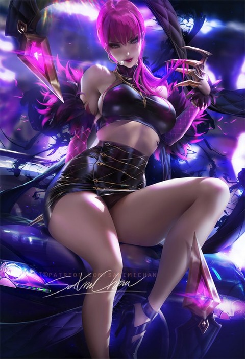KDA-Evelynn-by-sakimichan-HD-Wallpaper-