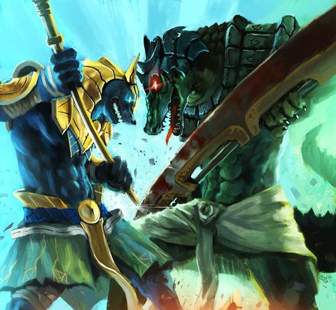 Nasus-VS-Renekton-League-of-Legends-Fan-Art