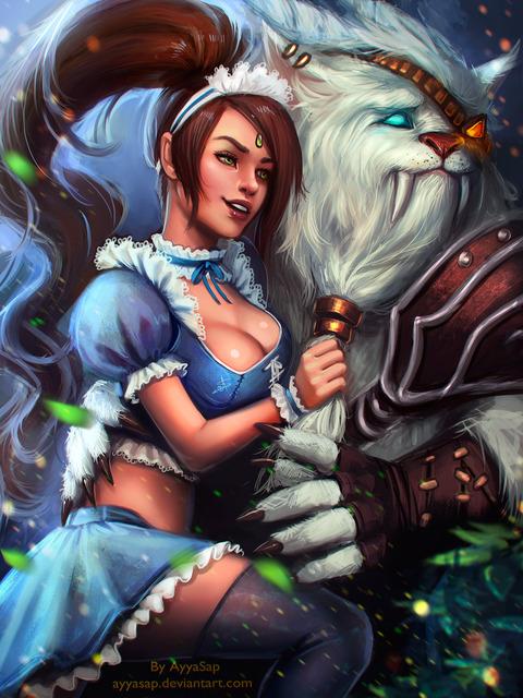 Nidalee-and-Rengar-League-Of-Legends-Fan-Art