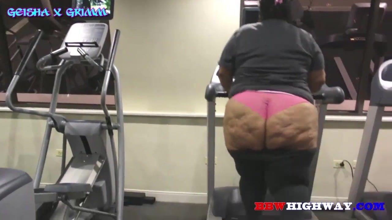 【ぽっちゃり・デブ動画】スポーツジムでダイエットを頑張る超巨尻コンプレックスの人妻を激撮!Geisha Grimm Workout