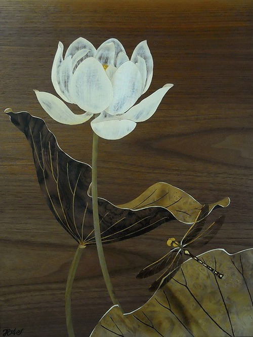 Lotus marquetry