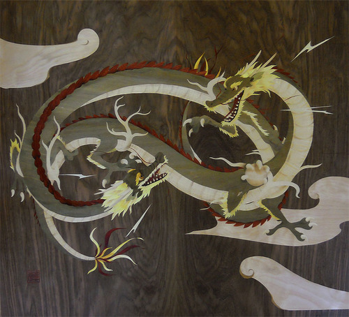 dragon marquetry