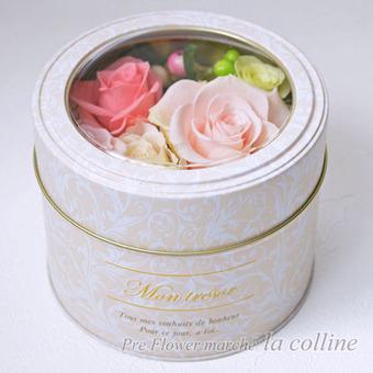 缶入りフェミニンBOXアレンジ(ピンクライム)【プリザーブドフラワーアレンジ】