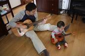 パパと息子の練習風景