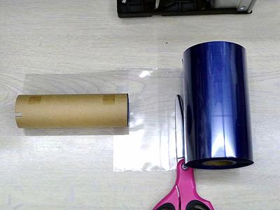 01リボンから紙管をカット