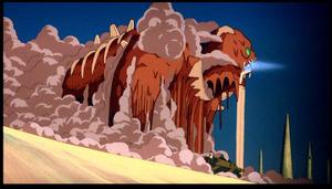風の谷のナウシカで有名な巨神兵。 巨人が神という設定は恐らく爬虫類人の祖先が巨人族だったのを描写しているものと思われる。当然、高度な技術を持つ神だ。
