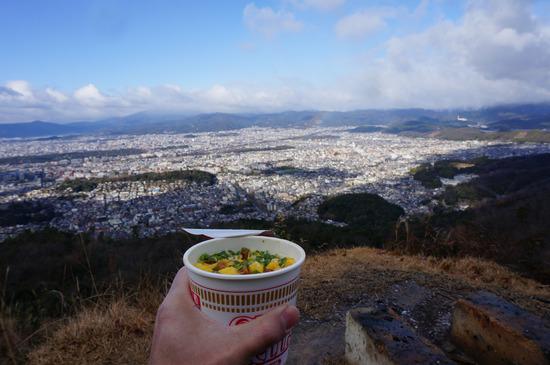 大文字山でカップラーメン