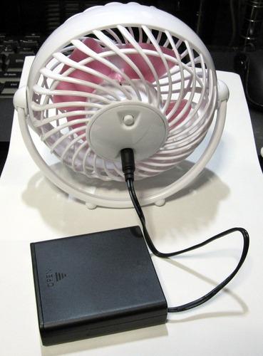 USB扇風機と電池ボックス