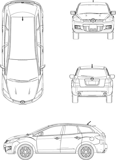 【mazda】cx 7 Cadデータ 171 添景用cad素材 171 車(car) 171 無料cadデータのcad素材館 Cad Material Pavilion Of Free Cad Data