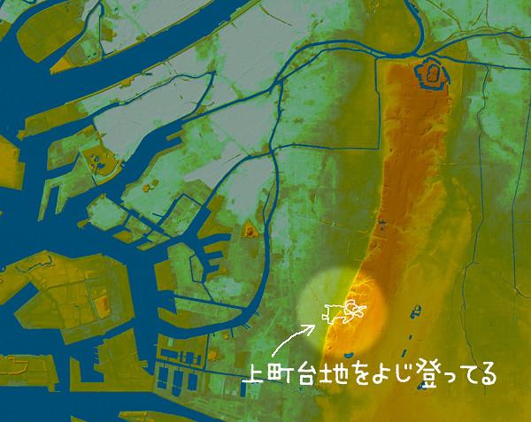 大阪全体地形図にゾウ