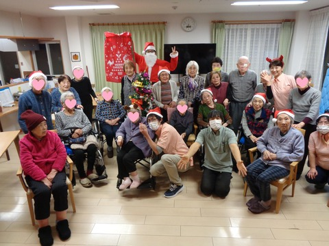 クリスマス会全員写真顔NGハート