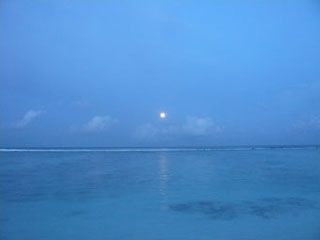 Moon on the evening sea