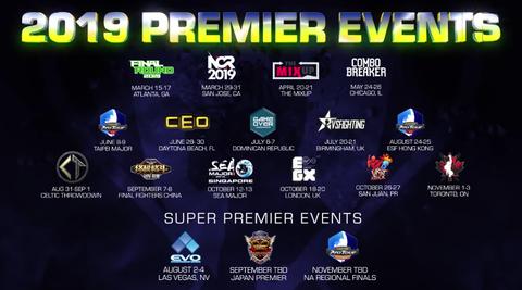 「Capcom Pro Tour 2019」の詳細が発表。EVO、ジャパンプレミア、北米地域決勝オープン大会の3つが「スーパープレミア」に指定。ランキング大会ポイント増加、オンライン大会の地域細分化など