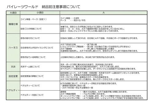 【パイレーツワールド】納品前の注意事項について