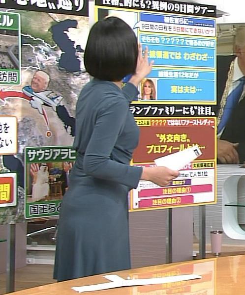 竹内由恵アナ セクシーなワンピースの横乳&お尻