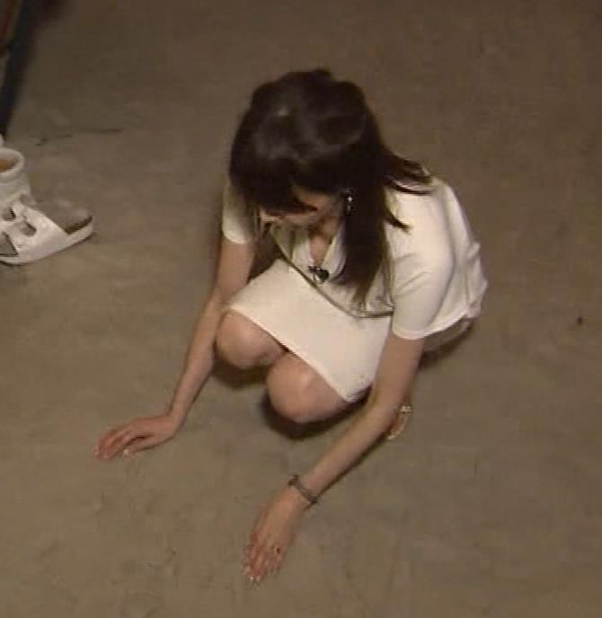 石田紗英子 Vネックで前かがみ、巨乳おっぱいチラリ