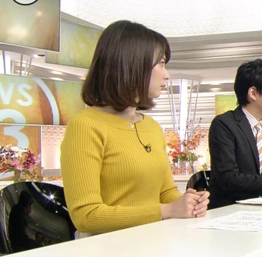 皆川玲奈アナ ニット★おっぱい