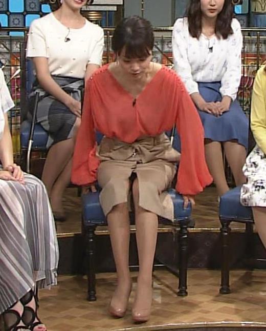 本田朋子アナ 脚を開いたらスカートの中が見えた!GIF動画 さんま御殿